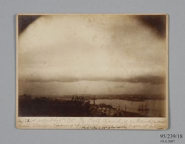 95/239/18 Photographic print, mounted on card, numbered 122, storm cloud formation over Sydney Observatory, paper / albumen emulsion, photographer James Short and Henry Chamberlain Russell, Sydney, New South Wales, Australia, 1895
