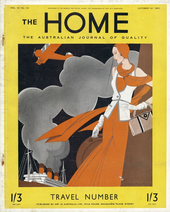93/349/6 Magazine, 'The Home', Vol 12. No.10, October 1st, paper, edited by Sydney Ure Smith and Leon Gellert, cover design by Hera Roberts, published by Art in Australia Ltd, Sydney, New South Wales, Australia, 1931. Click to enlarge.
