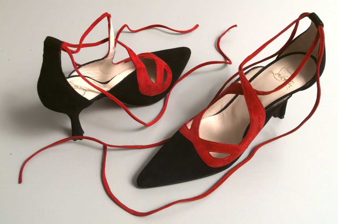 97/177/4 Shoes, pair, womens, 'Maskovitch', leather / suede / rubber, Christian Louboutin, designed in Paris, made in Italy, 1995. Click to enlarge.
