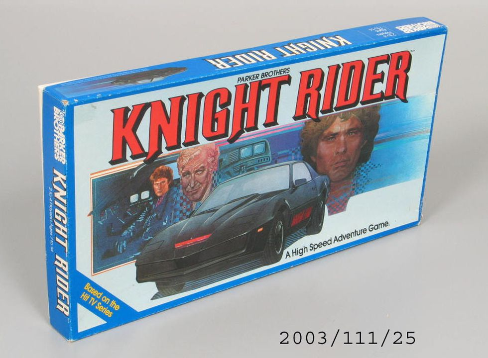 2003/111/25 Board game and packaging, licensed from the television show 'Knight Rider', cardboard / plastic, Parker Brothers, Alexandria, New South Wales, Australia, 1983. Click to enlarge.