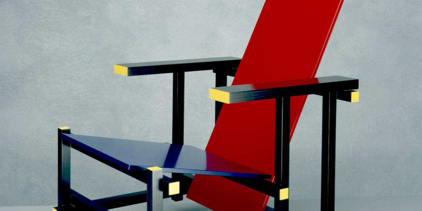85/1835 Chair, 'Red and Blue Chair', painted wood, designed by Gerrit Rietveld, Holland, 1917-1918, reproduced / made by Cassina, Italy, c.1984. Click to enlarge.