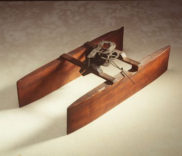 B1427 Experimental ship model, wood / metal, made by Lawrence Hargrave, Australia, 1883