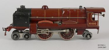 85/2582-1 Toy steam locomotive, Hornby No 3C Locomotive, 'LMS 6100 Royal Scot', 4-4-2, 0-gauge, clockwork-operated, metal, made by Meccano Ltd, Liverpool, England, 1935-1941