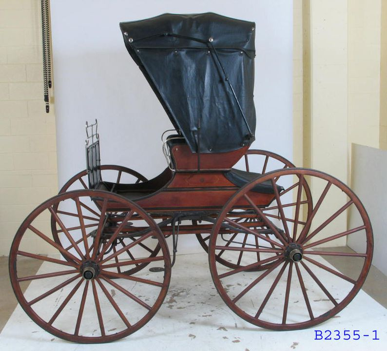 B2355 Horse-drawn vehicle, hooded Whitechapel buggy, full size, timber/leather, made by Arthur Wynne, coachbuilder, Wilson Street, Horsham, Victoria, Australia, 1914-1924. Click to enlarge.