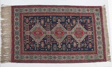 A4375 Rug, knotted pile, cotton / wool, Shirvan design motifs, made in the Caucasus or Armenia, c.1950