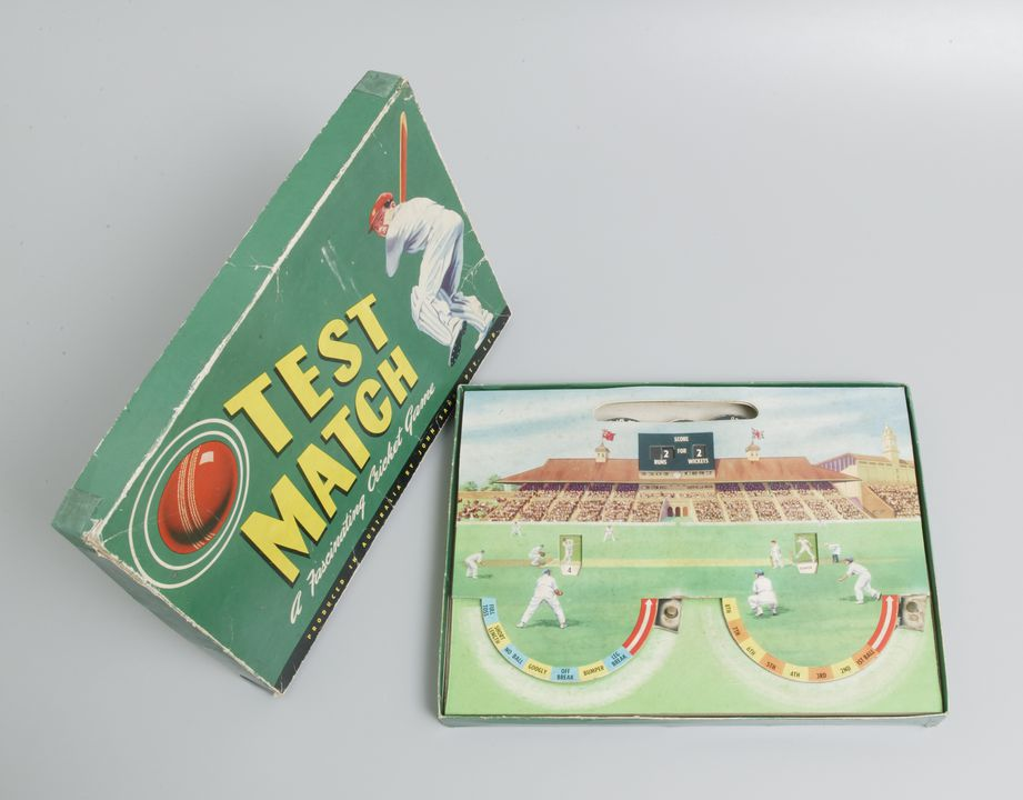 """2003/102/9 Board game with packaging, cricket, """"Test Match"""", cardboard / metal, John Sands Pty Ltd, Australia, [1955]. Click to enlarge."""