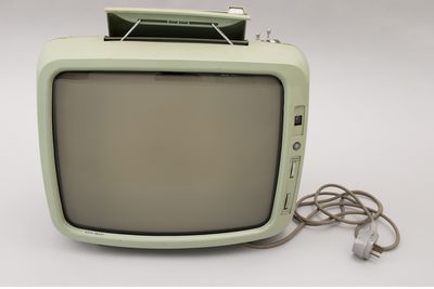 2003/75/1 Portable television, 17 inch portable black and white, AWA model P4, metal / plastic / electronic components, designed by William F Moody, made by Amalgamated Wireless (Australasia) Ltd (AWA), Sydney, New South Wales, Australia, 1969