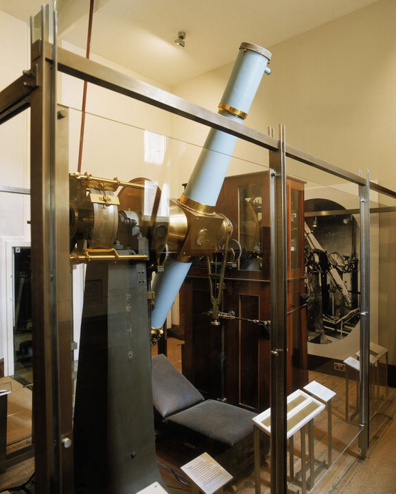 H9899 Telescope, 6 inch refracting transit telescope, brass / glass / wood, made by Troughton and Simms, London, 1875-1877, used at Sydney Observatory, Sydney, New South Wales, Australia. Click to enlarge.