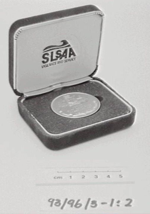 93/96/3 Medal and case, Surf Life Saving Association of Australia award, 'Junior Surf Boat Race Kingscliff Beach', National Championships, 1978, plastic / metal / textile, maker unknown, Australia, issued by Surf Life Saving Association of Australia, Australia, 1978. Click to enlarge.