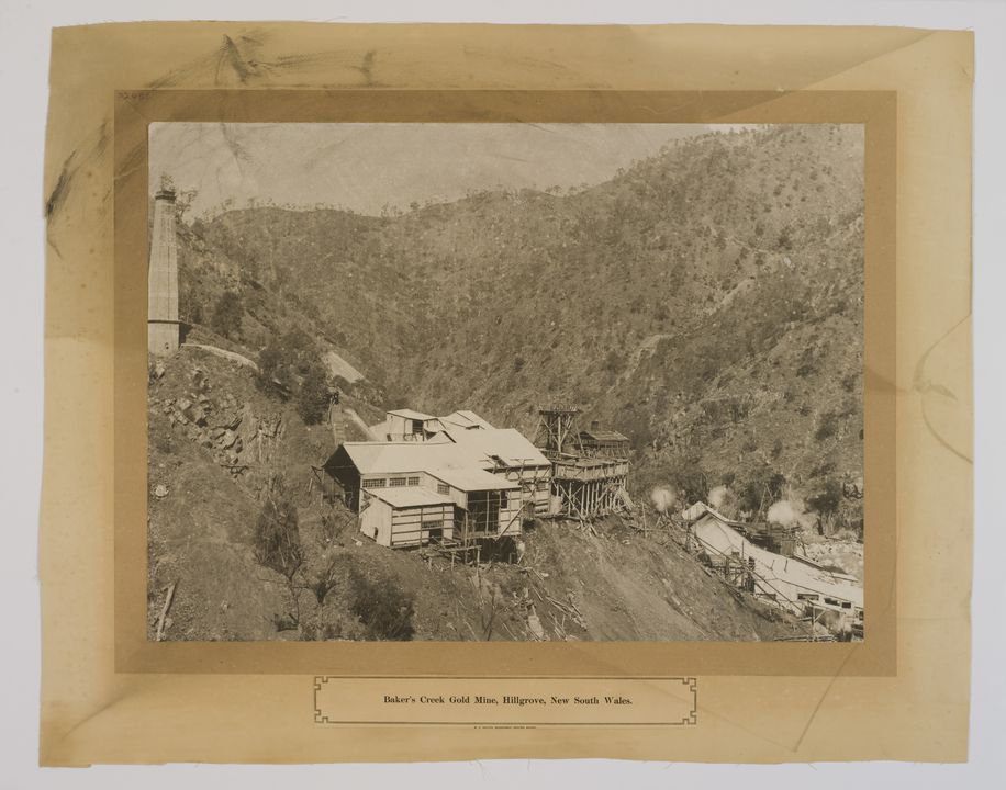 P2401 Enlarged photograph, 'Baker's Creek Gold Mine', paper with cloth backing, Hillgrove, New South Wales, Australia, c 1900, printed by W. A. Gullick, Government Printer, Sydney, 1906. Click to enlarge.