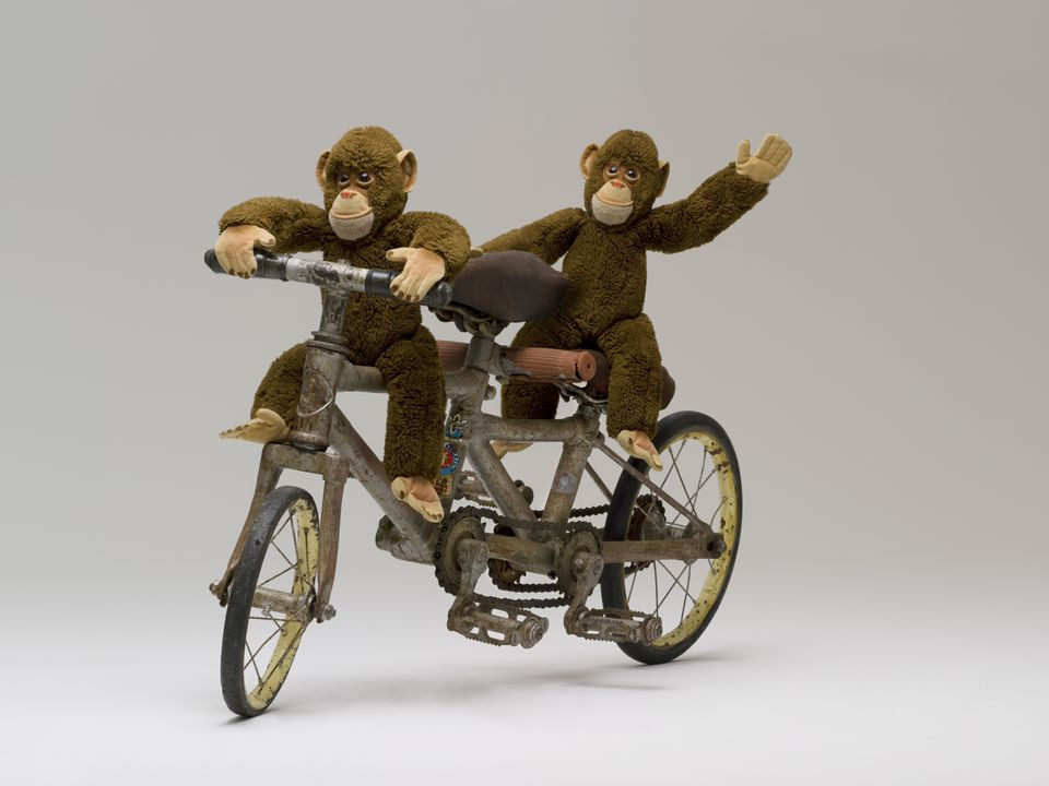 2008/197/2 Miniature bicycle, 'monkey bicycle', tandem type, metal, made by Silas Edworthy of Edworthy Cycle & Motor Works, Leichhardt / Lidcombe / Guildford, New South Wales, Australia, 1932-1936, used at Taronga Park Zoo monkey circus, Sydney, New South Wales, Australia, 1936-1940. Click to enlarge.