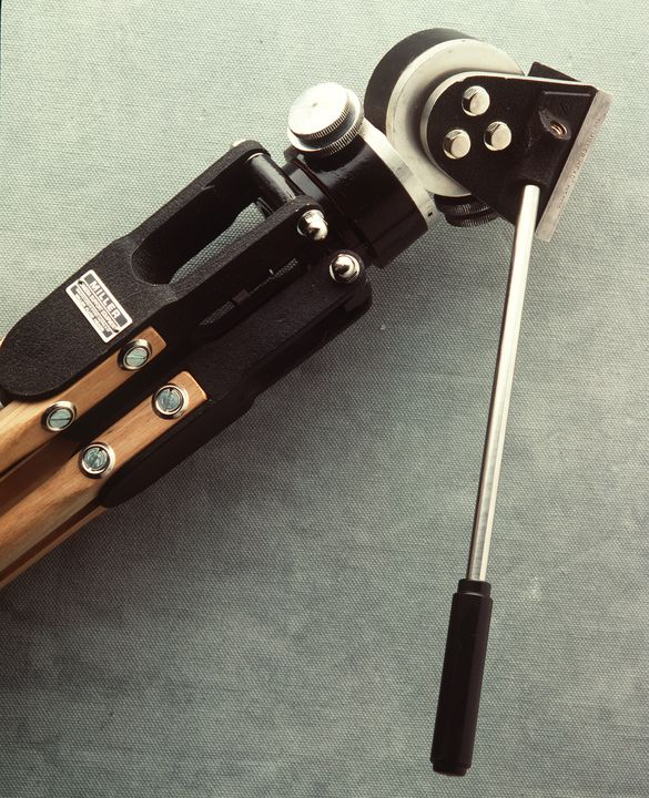 91/79 Camera tripod with head, fluid mount, Miller type C, metal / wood, made by Miller Fluid Heads, Sydney, New South Wales, Australia, 1958. Click to enlarge.
