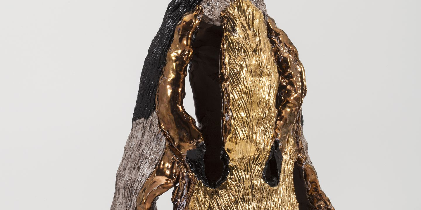 2015/81/1 Sculpture 'Black Tailed Swamp Wallaby 9', glazed earthenware, designed and made by Peter Cooley, Leura, New South Wales, Australia, 2015. Click to enlarge.