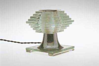 2005/66/12 Table lamp, 439 Series, electric, glass / aluminium / cotton / plastic / electrical components, attributed to La Maison Desny, Paris, France, 1929-1937