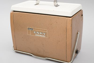 2005/203/2 Portable food and drink cooler with box, 'Esky', metal / plastic / rubber / cardboard, made by Malley's, used by Barbara Partridge, Australia, 1966-1969