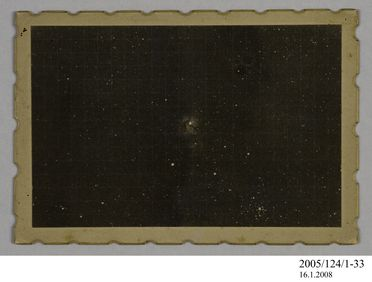 2005/124/1-33 Photograph, part of collection owned by James Short, black and white, 'Trifid Nebulae', mounted, card / paper, photographed by James Short, at unknown location, possibly 1908