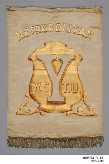 2008/231/1 Banners (12), honour boards (3), photographs (6), trophies (6), badges (22), medallions and other material, wood / fabric / metal, various makers, used by the Woman's Christian Temperance Union of New South Wales, Australia, 1882-1990