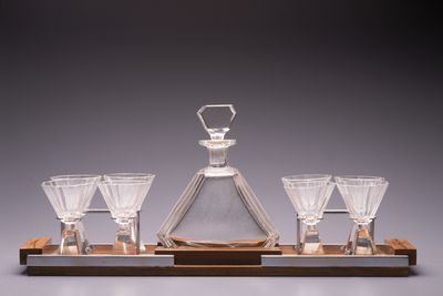 2005/66/34 Drinks set, consisting of liquor glasses (8), decanter and tray, glass / wood / chromed metal / felt, maker not recorded, France, c. 1930