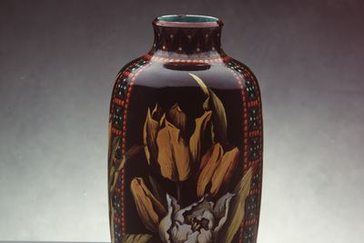 2808 [WEB APPROVED] Vase, earthenware, faience glaze, hand-painted by Mary Butterton, Doulton & Co, (Pinder Bourne & Co.), Lambeth, London, England, c. 1880.