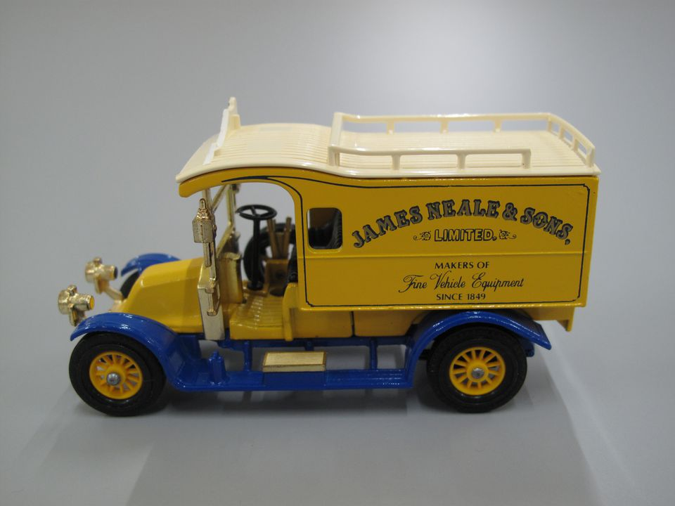 85/1183-36 Toy, Matchbox van, 1910 Renault, Y-25, 'James Neale & Sons, Limited Makers of Fine Vehicle Equipment Since 1849', Models of Yesteryear, metal/plastic, made by Matchbox Toys Ltd, England, 1985. Click to enlarge.