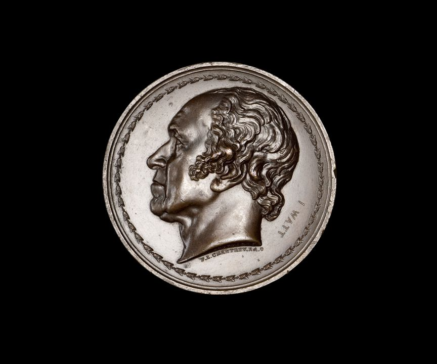 86/783 Medal, James Watt, bronze, engraved by T & A J Stothard based on artwork by F L Chantrey, minted by S Parker, London, England, 1827. Click to enlarge.