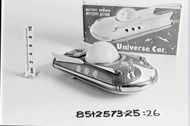 85/2573-26 Lid of box, for 'Universe Car', cardboard / metal, unknown maker, China, c. 1975
