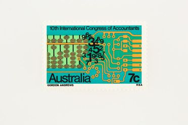 88/393-311 Postage stamp, '10th International Congress of Accountants Australia 7c', ink / paper, designed by Gordon Andrews for the Reserve Bank of Australia, Sydney, New South Wales, Australia, 1972
