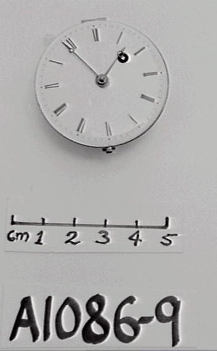 A1086-9 Pocket watch, movement and hands only, '12/50' '25956' brass / enamel / steel /, movement by C. Detouche, 158 -160 Rue St. Martins, Paris, 1820. Click to enlarge.