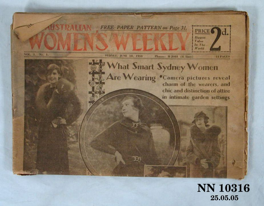 P.237/24 [WEB APPROVED] Magazine, first edition of the Australian Women's Weekly, paper, Sydney, NSW, Australia, 10 June 1933. Click to enlarge.