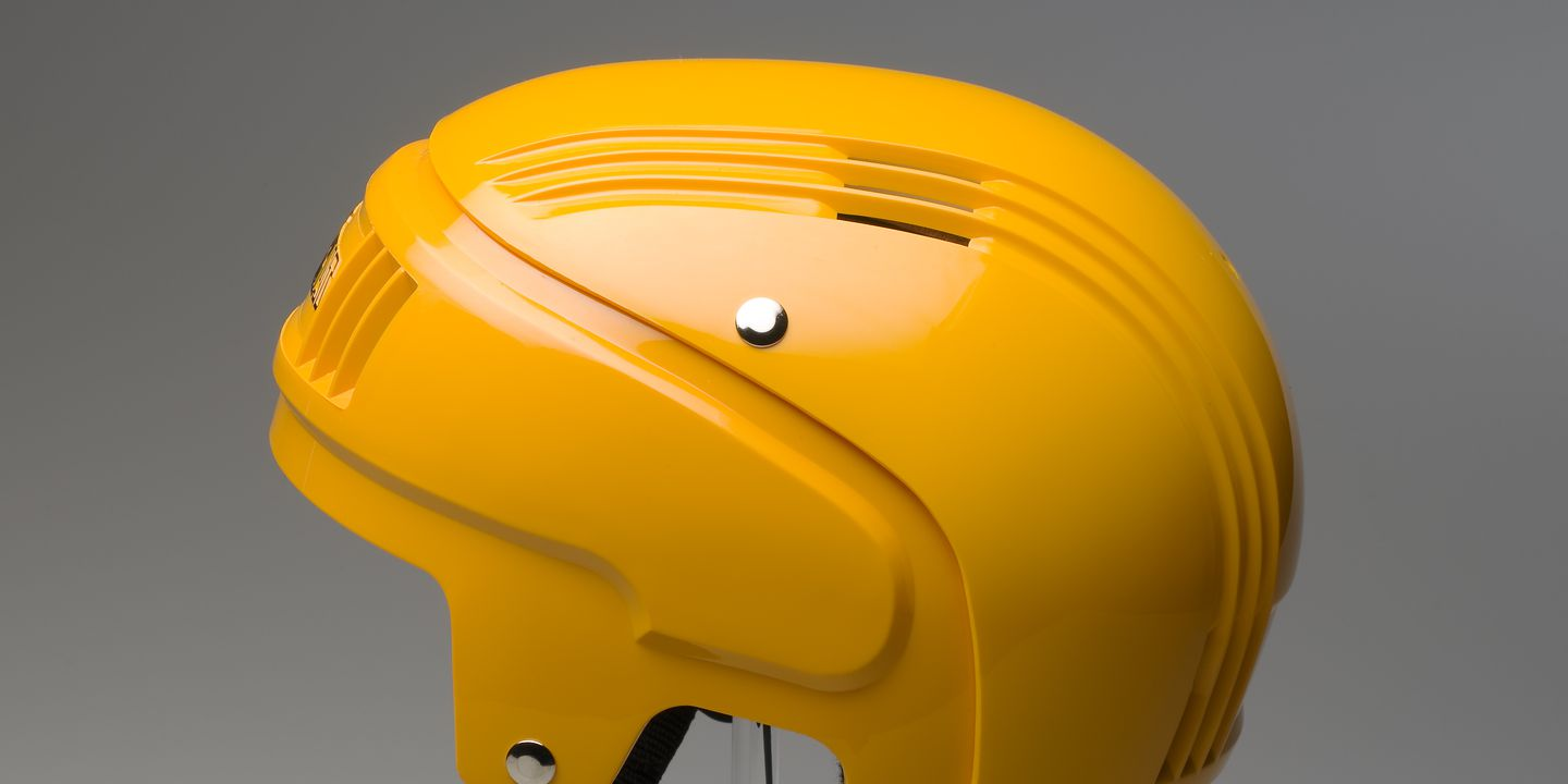 87/1040D Sports safety helmet, 'Stackhat', with packaging, plastic / metal / card, designed by PA Technology, made by Rosebank Products Pty Ltd, Victoria, Australia, 1987. Click to enlarge.