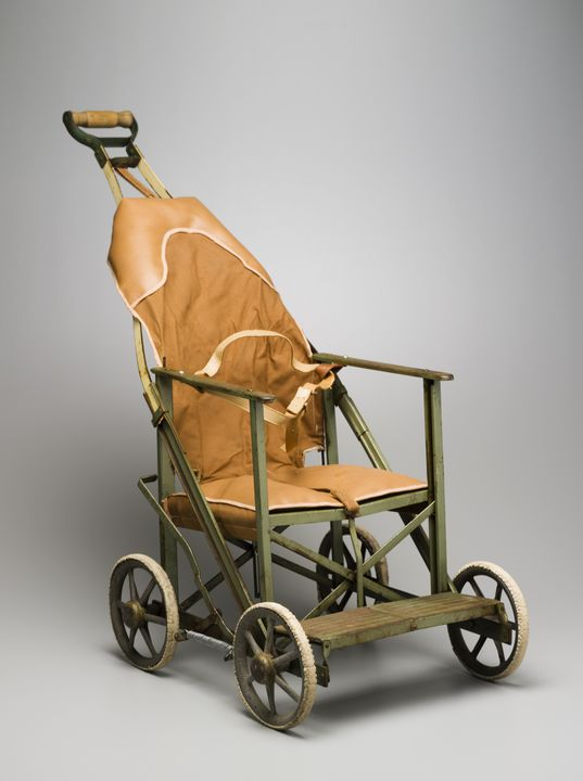 2006/119/1 Stroller, 'Stoway', vinyl / canvas / rubber / metal / cotton / plastic / wood, designed by Harold Cornish, made by Keencraft Manufacturing Pty Ltd, Sydney, New South Wales, Australia, 1949-1960.. Click to enlarge.