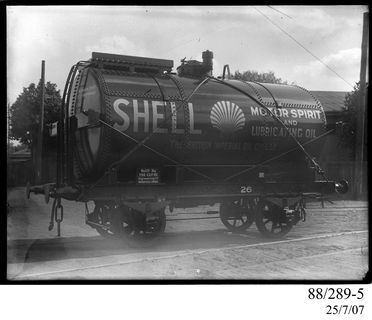 88/289-5 Photographic glass plate negative, depicting the standard gauge, 4-wheel, railway tank wagon No. 26 built by Clyde Engineering Pty Ltd, Granville, New South Wales, Australia, for the Shell Oil Company, New South Wales, Australia, 1900-1945