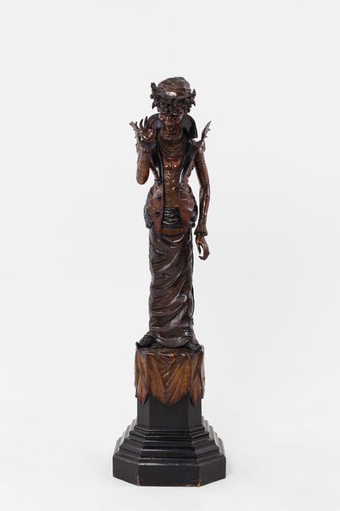 A5122 Hall figure, Mrs Devil (one of a pair), stained and ebonised wood, attributed to Francesco Toso, Venice, Italy, 1875-1890. Click to enlarge.
