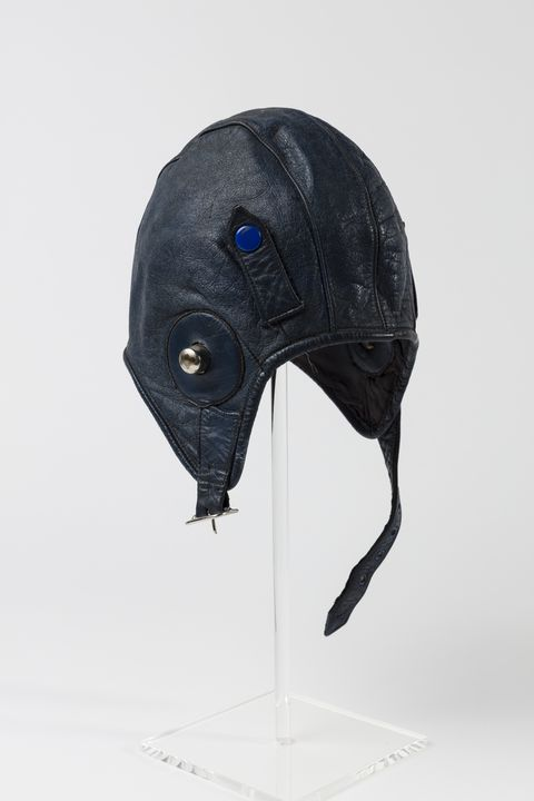 90/335 Flying helmet, leather, probably made in England, used by Nancy Bird Walton, Australia, after 1945. Click to enlarge.