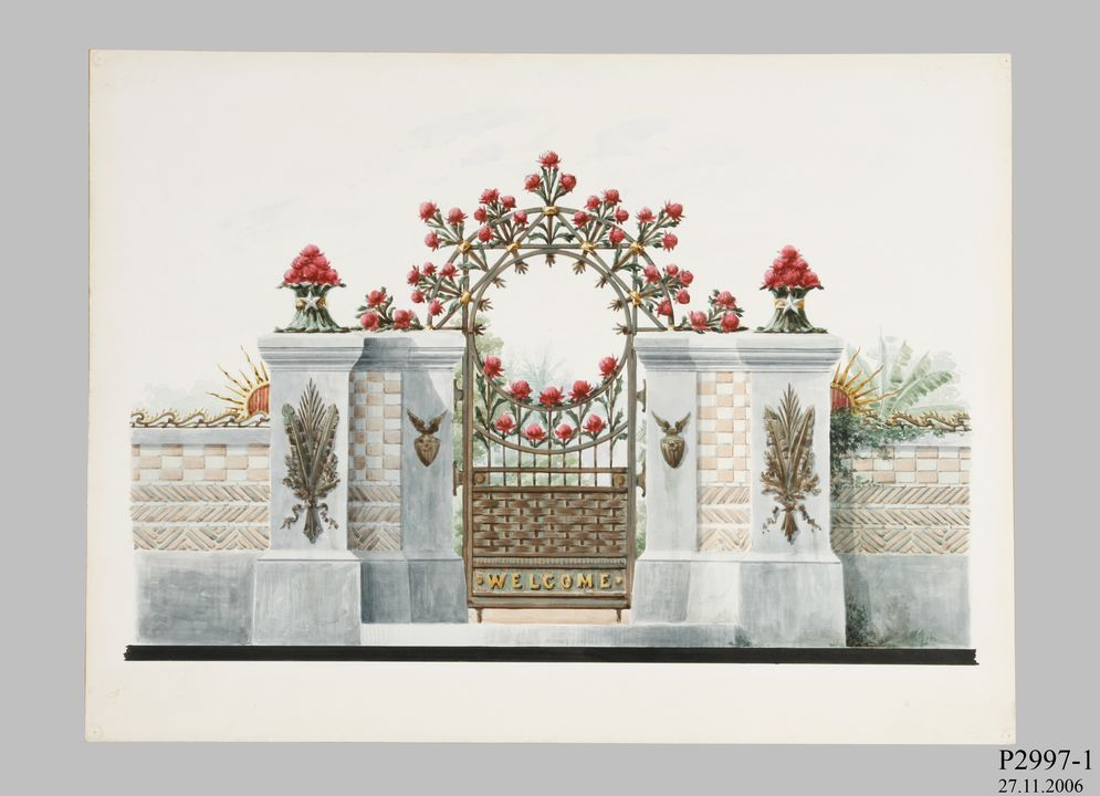P2997-1 Design, 'Wrought Iron and Enamelled Bronze Gate (Bronze enamelled gate for garden)', from unpublished book, 'Australian Decorative Arts', watercolour over pencil, made by Lucien Henry, Australia / France, 1889-1891. Click to enlarge.