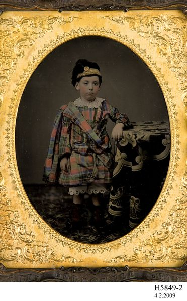 H5849-2 Photographic positive, studio portrait, hand-tinted ambrotype of the grand-son of Vice-Admiral Charles John Napier, collodion / paint / glass / wood / paper / metal / velvet, photographer unknown, England, 1855-1870