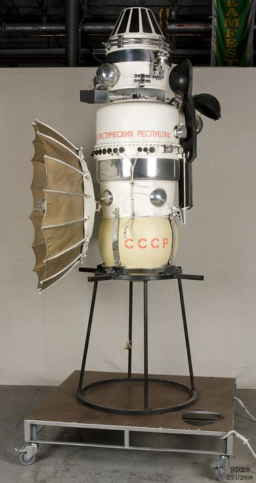 97/2/8 Spacecraft, model, Venera-4, 1:2 scale, metal / wood / plastic, made at the Exhibition Centre at the Soviet Academy of Sciences, USSR, [1967-1984]