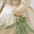 Image 11 of 21, A8684 Wedding dress, made up of bodices (2), skirt, belts (2), rosette, silk / lace / pearls, maker unknown, England, c. 1865. Click to enlarge