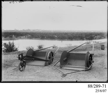 88/289-71 Photographic glass plate negative, depicting two horse-drawn earth scoops, two and three wheeled versions, built by the Clyde Engineering Co. Ltd, Granville, New South Wales, Australia, 1900-1939, glass / silver gelatin, part of Clyde Engineering collection
