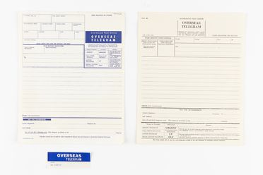 98/2/78-9 Telegrams (4) and sticker, part of collection, 'Overseas telegram', paper / ink / adhesive, Australia Post / Postmaster Generals Department, Australia, 1963-1973