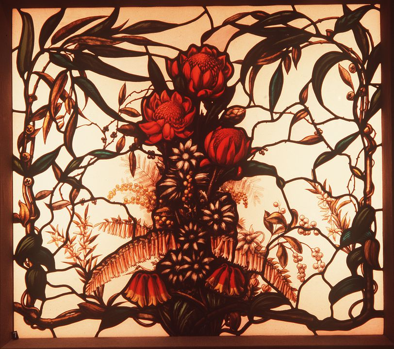 A643 Stained glass panel, leadlight window, eucalyptus, waratah, flannel flower and Christmas bush design, lead / glass, made by George Hulme, Sydney Technical College, Sydney, New South Wales, Australia, 1900-1907. Click to enlarge.
