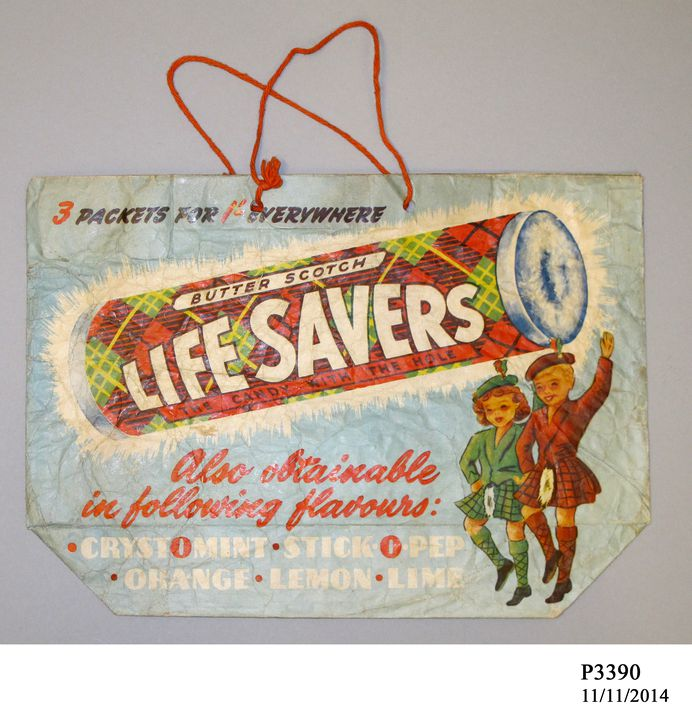 P3390 Showbag, 'Lifesavers', for the Sydney Royal Easter Show, paper / string, made by Wilmers & Gladwin Pty Ltd, Sydney, New South Wales, Australia, c. 1950. Click to enlarge.