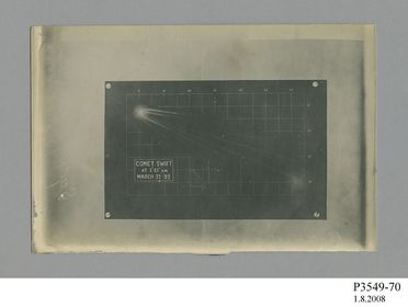 P3549-70 Photographic print, silver gelatin, of Comet Swift, paper / silver gelatin emulsion, photographed by James Short and H. C. Russell, used by Sydney Observatory, New South Wales, Australia, 22 March 1892