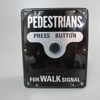 87/234 Traffic light pedestrian crossing buttons (2), ATPD, 'Audio -Tactile Pedestrian Detector', metal / plastic, made by K J Aldridge Automatic Systems Pty Ltd, Sydney, New South Wales, Australia, 1976-1987