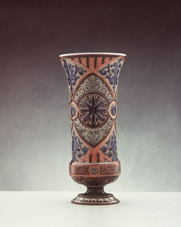 2841 Vase, blue and red foliate design, earthenware, by Doulton & Co, Lambeth, England, decorated by Frances E Lee, Lambeth, England, 1883