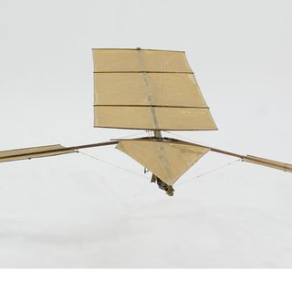 B110 Model flying machine, flapping wing 'Experiment B', paper / wood / rubber / metal, made by Lawrence Hargrave, Rushcutters Bay, New South Wales, Australia, 1886