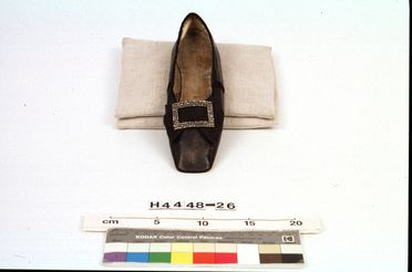 H4448-26 Slip on shoe, part of Joseph Box collection, womens, with buckle, left foot, leather / silk / linen / steel, maker unknown, England, c. 1850 / 1880-1899