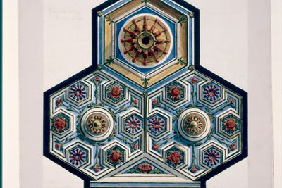 P3009 Design, 'Ceiling of same room, B (Hotel Australia - designs for zinc ceilings - Dining Hall)', from unpublished book, 'Australian Decorative Arts', paper, made by Lucien Henry, Australia / France, 1889-1891