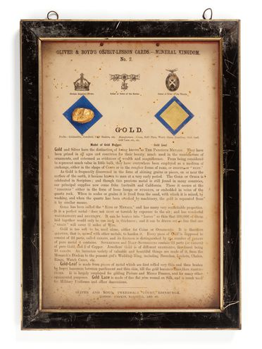 P440 Object lesson card, part of collection, 'Gold', framed, gold / possibly plaster / cardboard / glass / wood / paper, published by Oliver and Boyd, Edinburgh, Scotland, 1880-1884