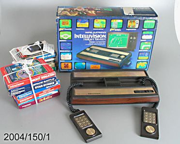 2004/150/1 Electronic toys, Mattel Intellivision (Intelligent television) model 3668, games (13), packaging, manuals, audio-visual cord and electric cord, plastic / metal / electronic components / paper / cardboard, designed by Mattel Inc, 1979, manufactured by Mattel Inc, United States of America /